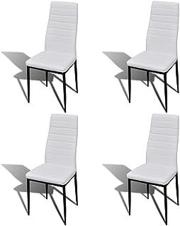 Sillas de comedor de diseño fino, 4 unidades, piel sintética, cómodas sillas con patas de metal estables para el hogar, comedor 41 x 51 x 98 cm