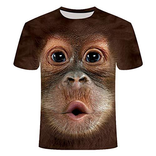 JKFDH 3D T-Shirt,Kreative Round Neck Short Sleeve Tops Neuheit Lustige Tier Orang-Utan-Druck Lässige Atmungsaktive Streetwear Für Frauen Mann Indoor Outdoor Sport, XL