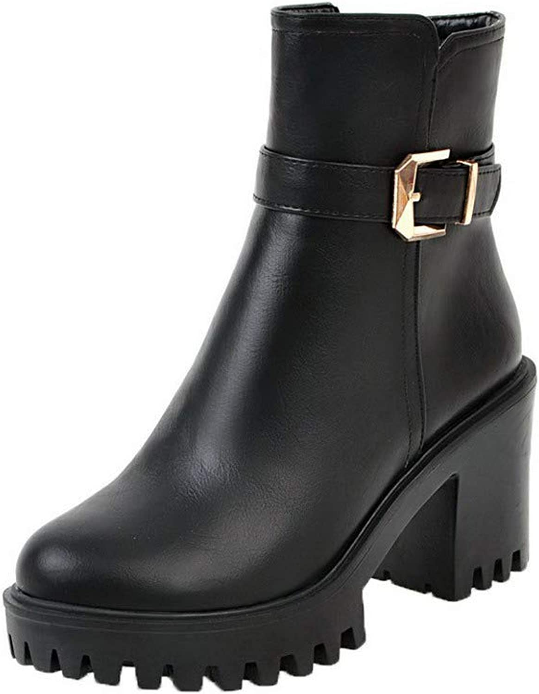 AmoonyFashion Women's Solid High-Heels Round-Toe Pu Zipper Boots, BUSXT115220