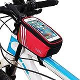 マウンテンバイクアッパーチューブバッグフロントバッグ電話のタッチスクリーンバッグフレームバッグの色ダブルハメ,赤,5 inch