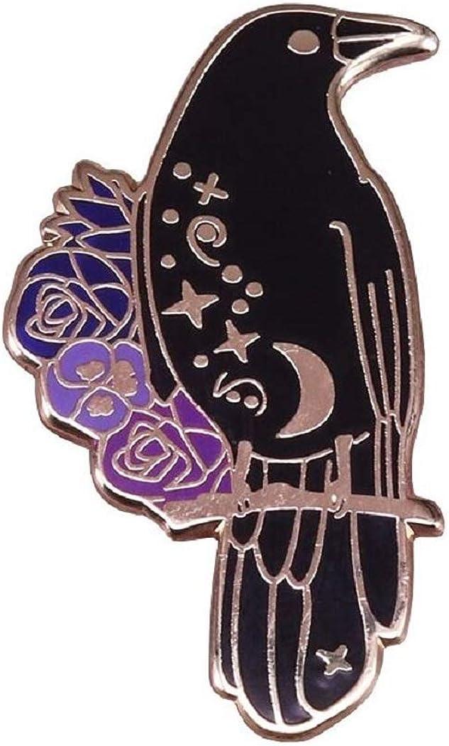 All Night Apparel Crow Enamel Lapel Bird Horror Raven Goth Witchcraft Brooch for Women Hat Pin