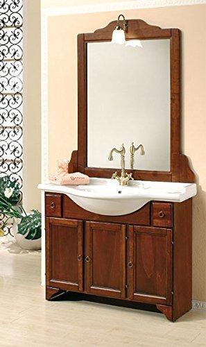 Bagno Italia Mobile Arredo Bagno Portofino cm105 arte povera con lavabo in ceramica e specchio Mobili I