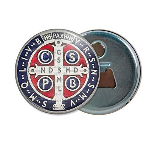 Décapsuleur Aimanté Magnet Medaille Croix de Saint Benoit Exorcisme Benediction Ouvre Bouteille Refrigerateur