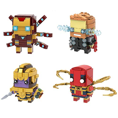 VENDISART 4Pcs Marvel Avengers Endgame Super Heroes Thanos Iron Man Thor Brickheadz Figures Building Blocks Bricks Kids Toys
