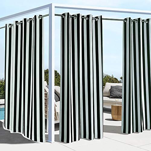 "Outdoor decor Coastal Stripe Cabana Panel, Black (50"" Wide by 96"" Long)"