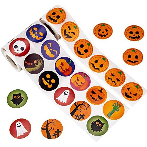 SAVITA Halloween Kürbis Aufkleber Rolle Halloween Partyzubehör für Kinder-Kürbis, Fledermaus, Eule (2 Rollen, 640 Stück)