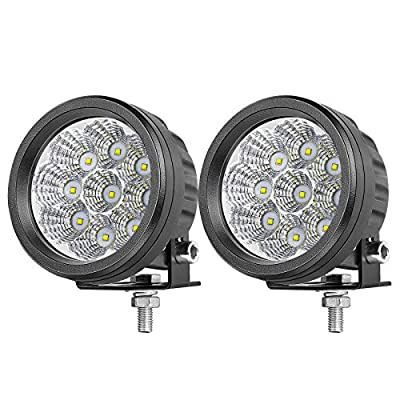 OFFROADTOWN LED Round Light Bar, 2PCS 3.5'' 90w LED Offroad Pods Light Round Flood Light Fog Light Headlight Driving Light for Offroad Truck SUV ATV UTV Construction Camping Hunters