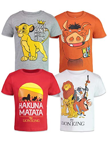 Disney Lion King Toddler Boys 4 Pack T-Shirts Simba Timon Pumbaa Zazu Nala 4T