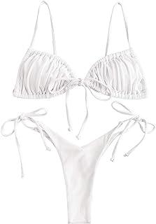 ZAFUL Women's Ribbed Tie Side String Triangle Bikini Set Two Piece Swimwear