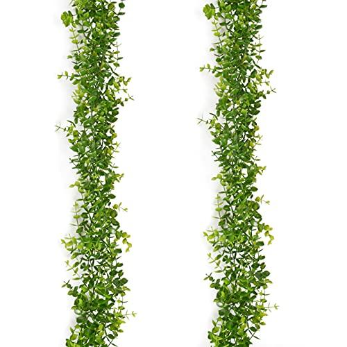 AIBAOBAO 2 PCS Artificial Eucalipto Guirnalda Planta, Artificial Plantas Verdes Hojas de Vid Decorativa, Duradero y Reutilizable, para Decoración de Pared de Boda, Hogar, Fiesta, jardín, habitación