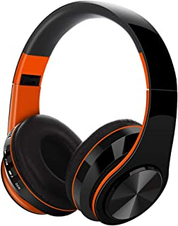 Bluetooth Headphones HIFI Stereo Wireless Earphone Over-Ear Noise Canceling with Mic Game Type, Subwoofer, Long Standby for PC/Cell Phones/TV,Orange