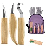 Wood Carving Tools Set - 6Pcs Wood Carving Kit Tools with Hook Carving Knife+Whittling Knife+Detail Carving Knife+Polishing Wax+Sharpening Leather+Cut Resistant Gloves+Canvas Bag for Beginners