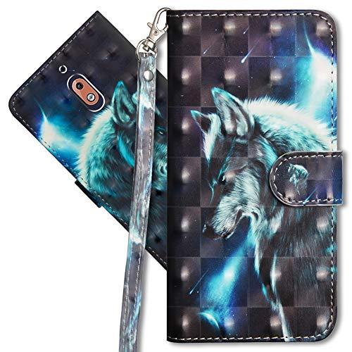 MRSTER Nokia 2.1 Handytasche, Leder Schutzhülle Brieftasche Hülle Flip Hülle 3D Muster Cover mit Kartenfach Magnet Tasche Handyhüllen für Nokia 2.1 2018. YX 3D - Wolf
