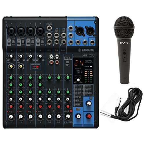 Yamaha MG10XU 10 Input Stereo Mixer USB w/ Dynamic Microphone and Cable, Black