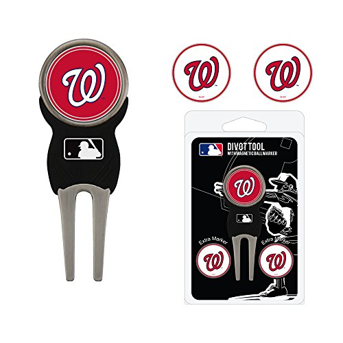 Team Golf MLB Washington Nationals Divot Tool with 3 Golf Ball Markers Pack, Markers are Removable Magnetic Double-Sided Enamel