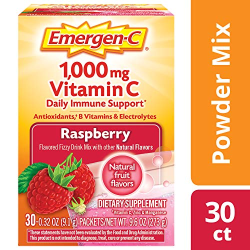 Emergen-C Vitamin C 1000mg Powder (30 Count, Raspberry Flavor, 1 Month Supply), With Antioxidants, B Vitamins And Electrolytes, Dietary Supplement Fizzy Drink Mix, Caffeine Free
