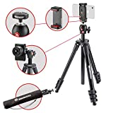 Manfrotto MKSCOMPACTLTBK Compact Light Smart Tripod with Ball Head and Smartphone Clamp for iPhone, Samsung,...
