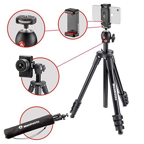 Manfrotto Compact Action statief, Compact Light Smart zwart (incl. smartphone houder), zwart