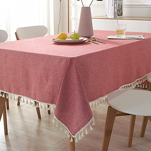 XGguo Mantel de Plástico para Fiestas Interiores o Exteriores Cumpleaños Bodas Picnics Borla Simple teñida en Hilo de algodón y Lino