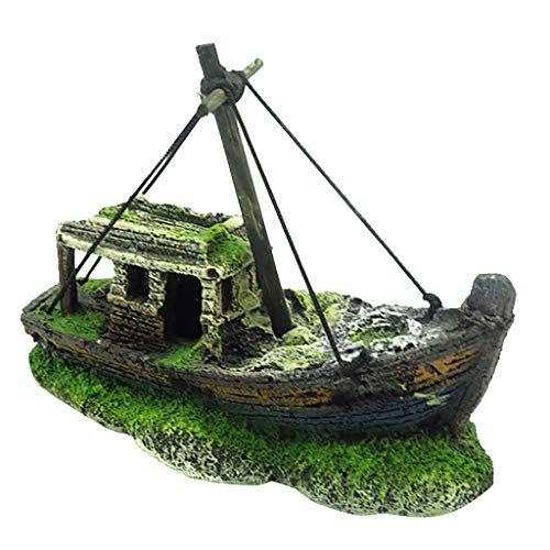 jieGorge Aquarium Fish Tank Landscape Pirate Ship Wreck Ship Decor Resin Boat Ornament, Aquarium Accessories, Products for Xmas Day (B)