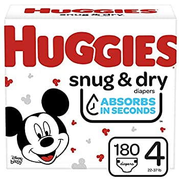 Huggies Snug & Dry Baby Diapers Size 4 180 Ct One Month Supply
