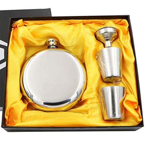 Yousiju Botella de Vino Redonda Flagon 5oz Frasco de Licor portátil Inoxidable con Embudo 2 Tazas Regalo de Padrino de Boda (Color : Gold)