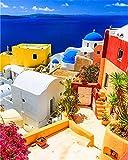 xinyouzhihi DIYPintarpornúmerosEdificio de Carteles a Color Set de Bricolaje para Pintar con Pinceles Y Pinturas Decoraciones para El Hogar40x50cm (SinMarco)