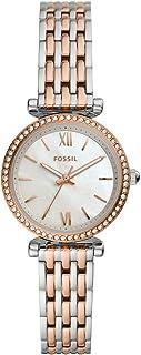 ساعة يد صغيرة تناظرية من الستانلس ستيل بميناء بيضاء للنساء من فوسيل كارلي - ES4649