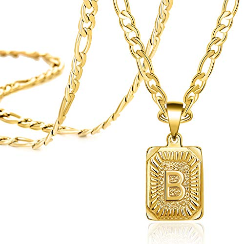 Gold Square Initial Necklaces for Women Teen Girls Letter B Personalized Name Birthday Gifts for Mom Daughter Wife Girlfriend Stainless Steel Figaro Chain Vintage Medallion Pendant Necklace