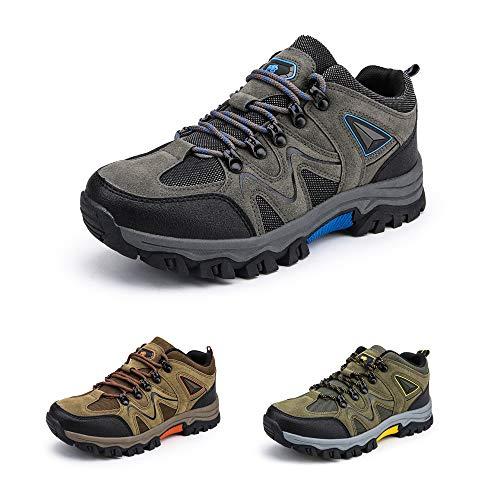 Bandkos Trekkingschuhe Herren Wanderschuhe LeichteAtmungsaktiv Outdoor Sportschuhe rutschfeste Hiking Sneaker Schwarz Grün Khaki Größe 39-47,BK-47