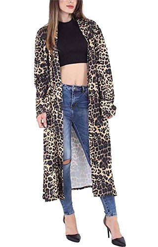 Rimi Hanger Womens Long Sleeve Animal Printed Crepe Cardigan Ladies Fancy Open Front Tartan Duster Coat Jacket Leopard Print XX Large