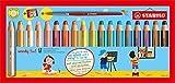 Buntstift, Wasserfarbe & Wachsmalkreide - STABILO woody 3 in 1 - 18er Pack mit Spitzer und Pinsel - mit 18 verschiedenen Farben
