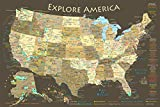 National Parks Map Poster with USA Travel Destinations (24W x 16H inches)
