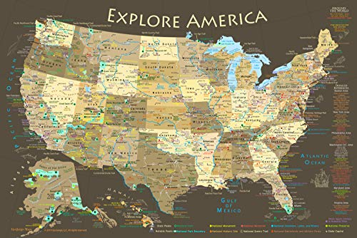 GEOJANGO National Parks Map Poster with USA Travel Destinations (24W x 16H inches)