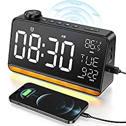Alarm Clock for Bedroom Dekala 9 Large Display Digital Clock Radios for Bedroom Alarm Clock with USB Charger Dual Alarm Clock Radio 4 Sleep Sound Machine Dimmer Night Light Snooze