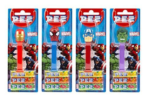 PEZ Spender Set Marvel (4 Spender mit je 3 PEZ Bonbons á 8,5g) + 2 Nachfüllpacks (8 PEZ Bonbons á 8,5g)