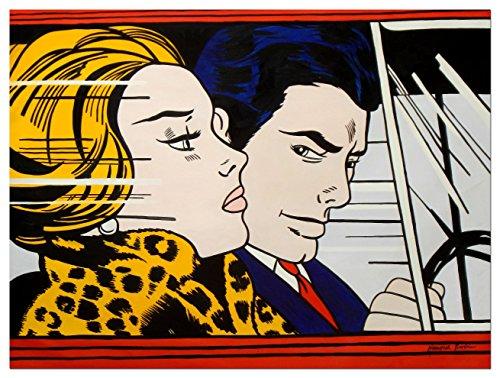 elOleo 91235A Homage to Roy Lichtenstein - In the car 90x120 Ölgemälde auf Leinwand handgemalt