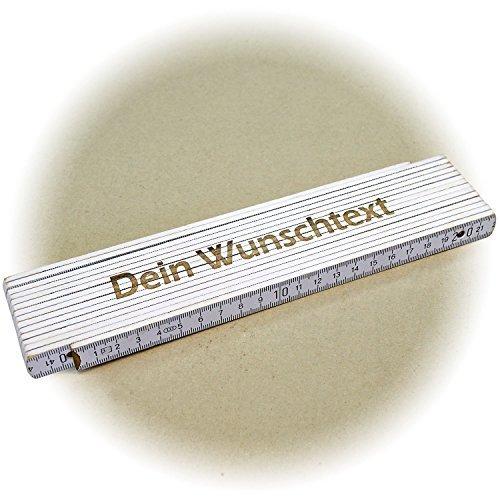 Holz-Gliedermaßstab/Zollstock WEISS mit Lasergravur (3 Meter, einseitig beschriftet)