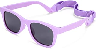 Baby Polarized Sunglasses with Strap, Flexible Kids Shades for Infant Toddler Age 0-24 Months