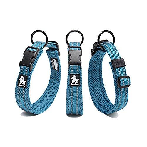 Tineer einstellbare reflektierende Nylon Hundehalsbänder gepolstert weich atmungsaktiv Mesh gepolsterte Halskette Halsband für alle Rassen Hundetraining (M (40-45cm), Sky Blue)