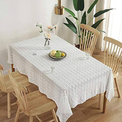 YuoungYuan Mantel Antimanchas Mantel plastificado Paño de Tabla de la Fiesta Mesa de Comedor de la Cubierta Al Aire Libre de Tela de Mesa Manteles Rectangular 150X150,White