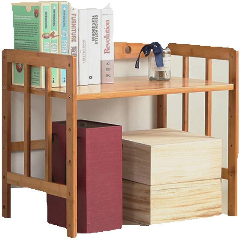 Retro Bamboo Bookcases, Floor-Standing Decor Multi-Layer Storage Rack Bookshelf Organizer Living Room Bedroom Office-A 52X38X50cm