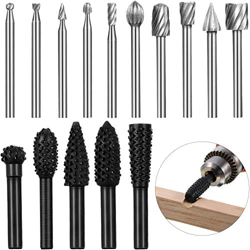 15 Pieces Woodworking Drill Bits Set Including 5 Pieces Rotary Rasp File Bits with 1/4 Shank and 10 Piece Wood Carving Rotary Burr Bits with 1/8 Inch Shank for DIY Woodworking Carving Drilling