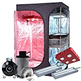 BloomGrow 36''x24''x53'' 2-in-1 600D Mylar Grow Tent + 4'' Fan Filter Ventilation Kit + 800W Full Spectrum LED Grow Light + 2PCS 24W 2ft 2-lamp 6500K T5 Lights Indoor Plant Grow Tent Complete Kit