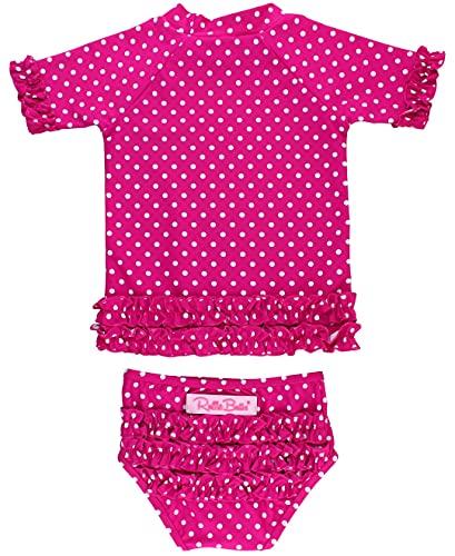 RuffleButts Baby/Toddler Girls Rash Guard 2-Piece Swimsuit Set - Berry Polka Dot Bikini with UPF 50+ Sun Protection - 6-12m