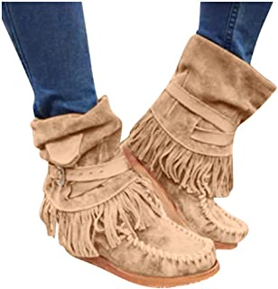 Women's Retro Roman Midi Calf Boots Comfy Flat Bottom Increased Combat Style Army Booties Outdoor Perforated Fringe Western Shoes