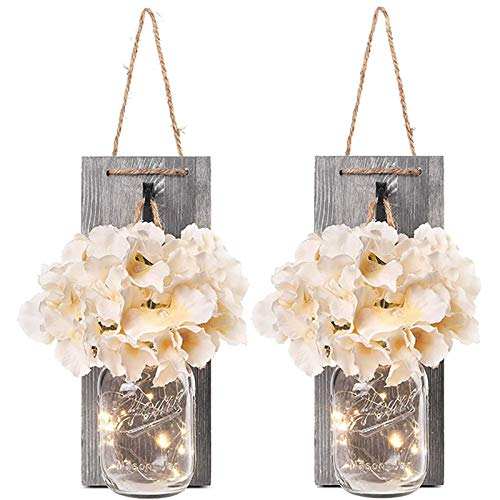 2 Packs Mason Jar Wall Lights,Ru...