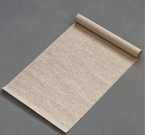N12 Linen Table Runner Slat Mat Placemat Chinese/Japanese-Style Kung fu Tea Decor Waterproof (Light Brown- Plain, 200 x30cm)