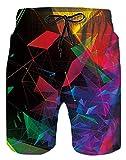 Spreadhoodie Geometría Bañador para Hombre Drawstring Respirable Mens Swim Pantalones Cortos Colorida 3D Hombres Nadar Pantalones Cortos con Bolsillo L