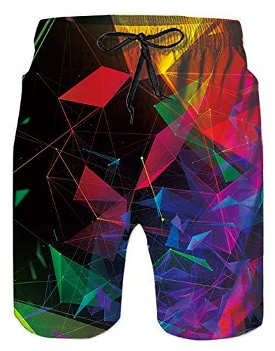 Geometria Tronchi per la Spiaggia da Uomo Bermuda Costume da Bagno Ragazzo Modello Interessante 3D Colorata Pantaloncini da Bagno con Pocket